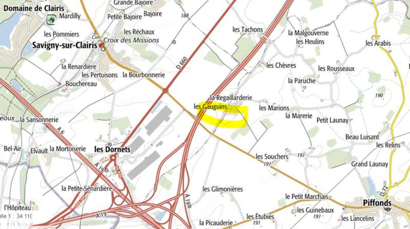 Carte vue de Aux légumes Puifondins depuis le domaine de savigny et piffonds
